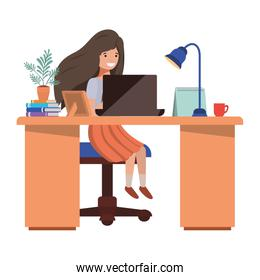woman working in the office avatar character