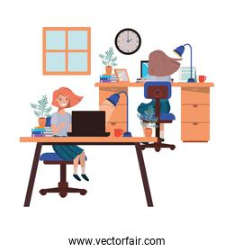 women working in the office avatar character