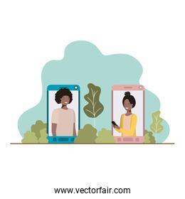 young couple in smartphone with landscape