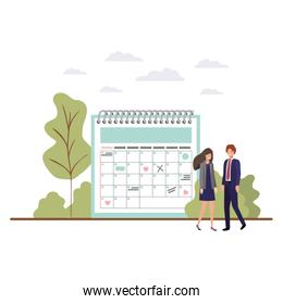 couple of business with calendar reminder avatars characters