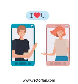 young couple in smartphone with speech bubble