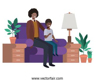 father and son sitting in couch avatar character