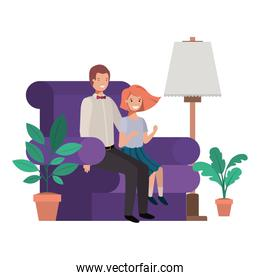 father and daughter sitting in couch avatar character