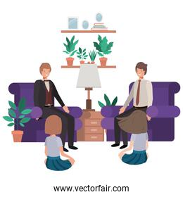 fathers and daughters sitting in couch avatar character