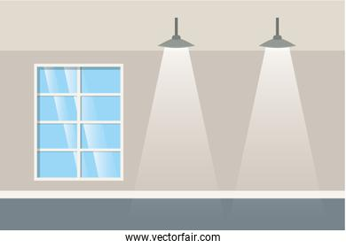 wall with windows and lamps isolated icon