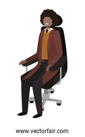 businessman sitting in office chair avatar character