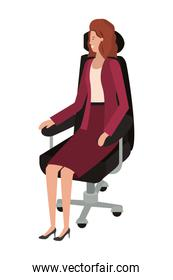 businesswoman sitting in office chair avatar character