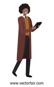 youth business man with tablet avatar character