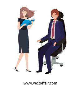 man sitting in office chair and woman with book