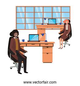 couple of business in the work office avatar character