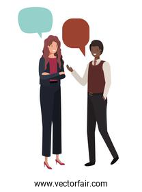 couple of business with speech bubble avatar character