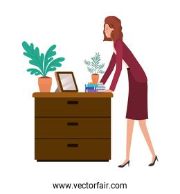 woman with wooden drawer isolated icon