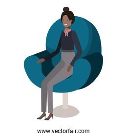 businesswoman sitting in chair avatar character