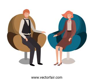 business couple sitting in chair avatar character