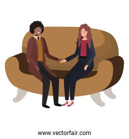business couple sitting in sofa avatar character