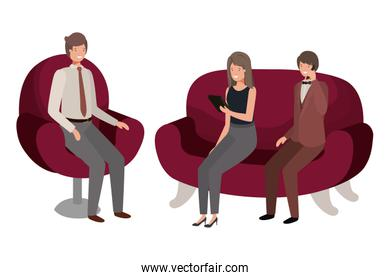 group of people bussiness sitting in chairs avatar character