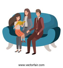 parents couple with daugether sitting in chair