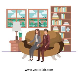 business couple sitting in livingroom avatar character