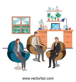 group of people bussiness sitting in livingroom