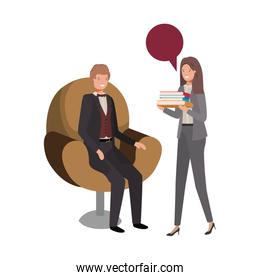 couple of business with speech bubble
