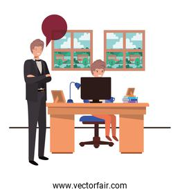 teacher in the classroom with student and speech bubble