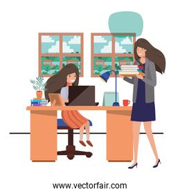 female teacher in the classroom with student and speech bubble