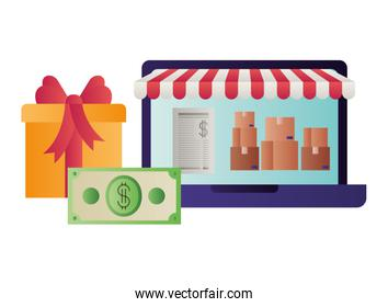 laptop with tent and gift isolated icon