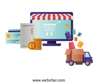 laptop with tent and shopping cart