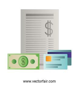 payment document with credit card isolated icon