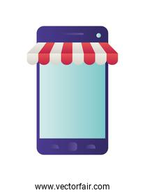 smartphone with tent isolated icon