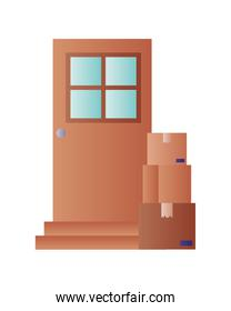 door with packages isolated icon