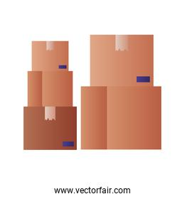 cardboard boxes isolated icon