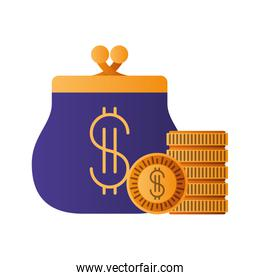 coin purse isolated icon