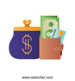 coin purse and wallet with money isolated icon
