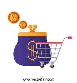 coin purse with shopping cart isolated icon