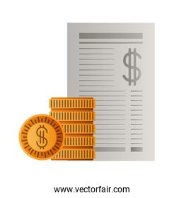 payment document with coins isolated icon