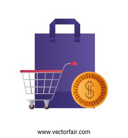 shopping bag with shopping cart and