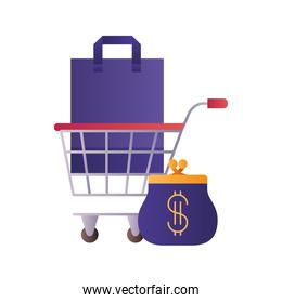 shopping bag with shopping cart and coin bag