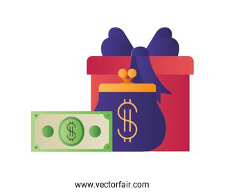 gift with coin bag and dollar isolated icon