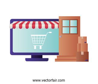 laptop with tent and shopping cart isolated icon