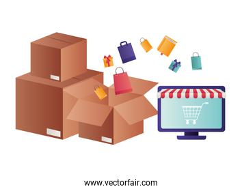 laptop with tent and cardboard boxes isolated icon
