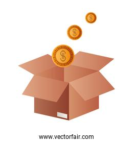 cardboard box with coins isolated design