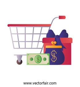 shopping cart with gifts isolated icon