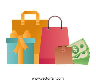 shopping bag with gift and wallet