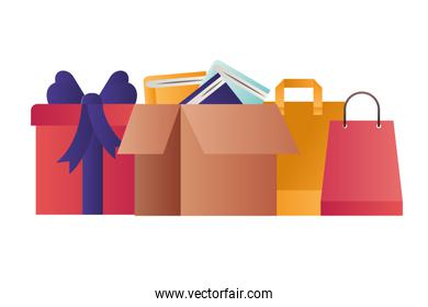 shopping bag with gift and cardboard box