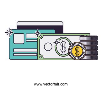 credit card with dollar and coins