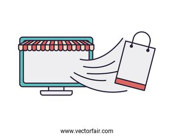 computer screen with tent and shopping bag