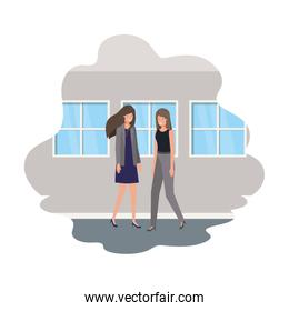 businesswomen with wall and windows avatar character