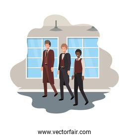 businessmen with wall and windows avatar character