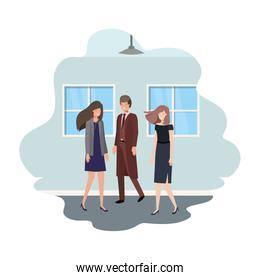 group of business with wall and windows avatar character